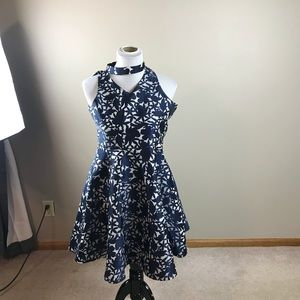 Pippa & Julie Navy Blue And White Dress Like New
